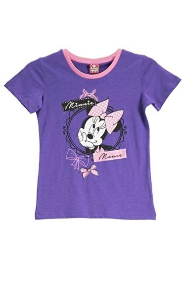 Mickey Mouse Mickey & Minnie Mouse Lisanslı Açık Gri Kız Çocuk T-Shirt Mor